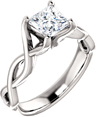 0.75 Carat Platinum Princess-Cut Infinity Diamond Engagement Ring