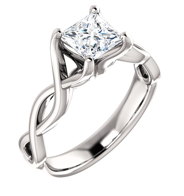 Platinum 1 Carat Princess-cut Diamond Infinity Symbol Engagement Ring