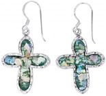 Roman Glass Cross Earrings in Sterling Silver