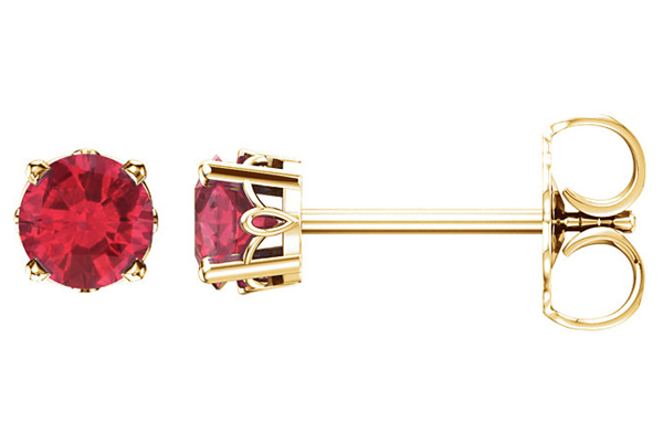 Ruby Scroll Stud Earrings in 14K Gold