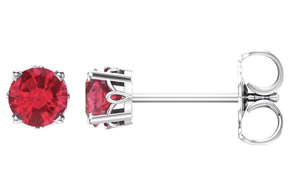 Ruby Scrollwork Stud Earrings, 14K White Gold