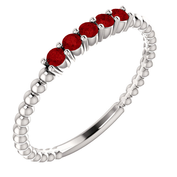 Silver Ruby Stackable Beaded Ring