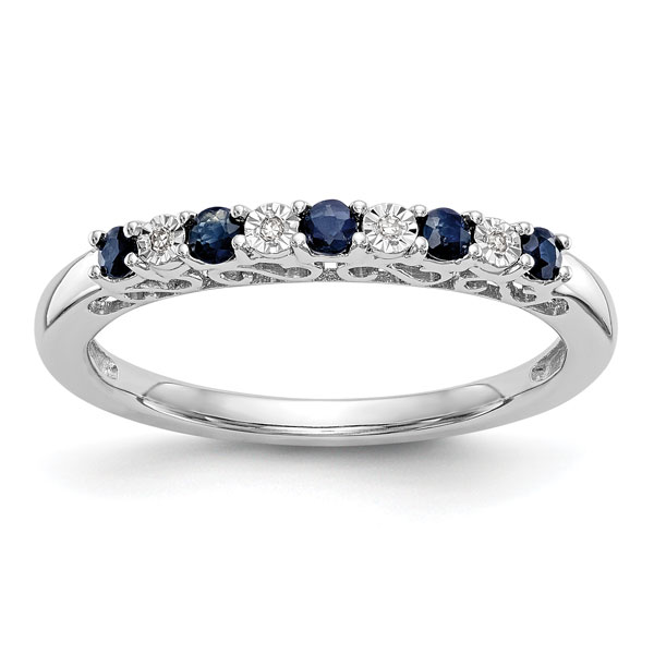 Sapphire and Diamond Paisley Style Ring, 14K White Gold