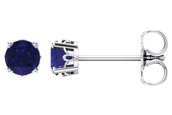 Sapphire Scroll Work Stud Earrings, 14K White Gold