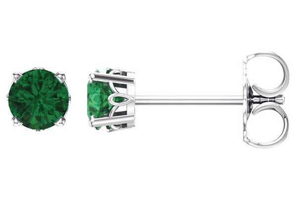 Scrollwork Emerald Stud Earrings, 14K White Gold