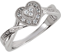 Near Vintage Silver CZ Stone Heart Ring