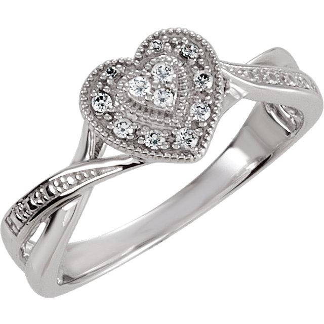 Near Vintage Silver CZ Stone Heart Ring