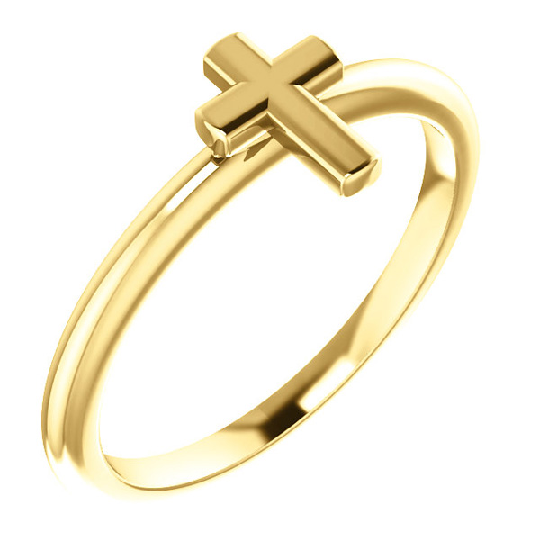 Simple Cross Ring for Women, 14K Gold