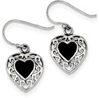Slightly Antiqued Onyx Heart Earrings in Silver