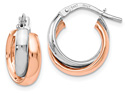 Small 14K Rose and White Gold Hinged Dual Hoop Earrings