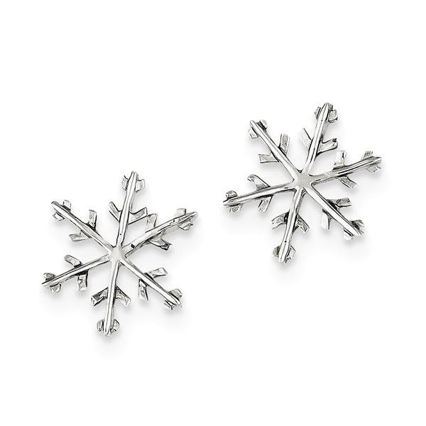 Snowflake Post Stud Earrings, Sterling Silver