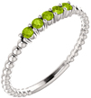 Stackable Peridot Bead Ring, 14K White Gold