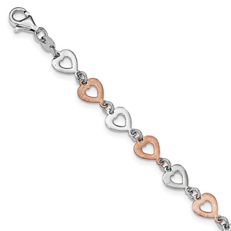 Sterling Silver with Rose Rhodium Heart Bracelet
