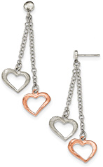 Sterling Silver and Rose Rhodium Heart Earrings