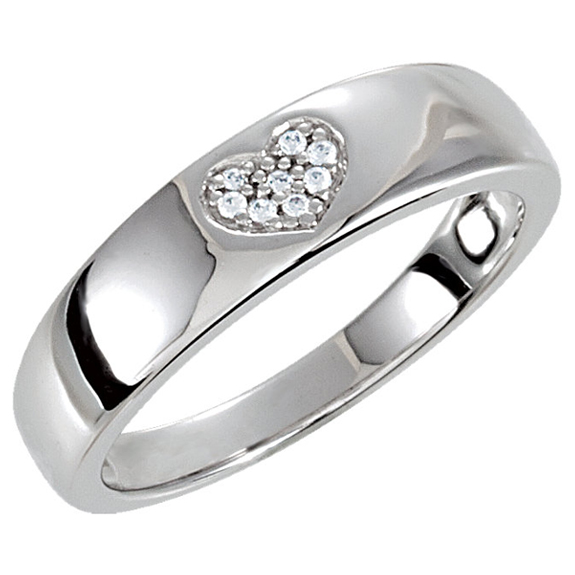 Silver Cubic Zirconia Heart Band