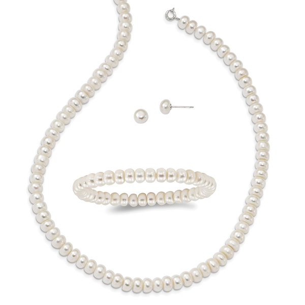 Sterling Silver Cultured Freshwater Pearl Set