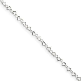 Sterling Silver Heart Link Anklet, 10
