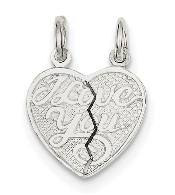 Small Sterling Silver I Love You Break-Apart Heart Pendant