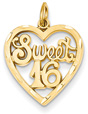 Sweet 16 Heart Charm Pendant, 14K Gold