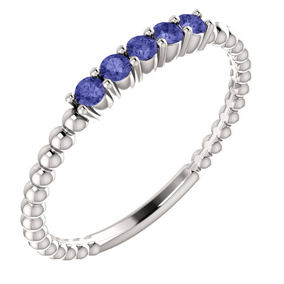 Tanzanite Bead Stackable Ring, 14K White Gold
