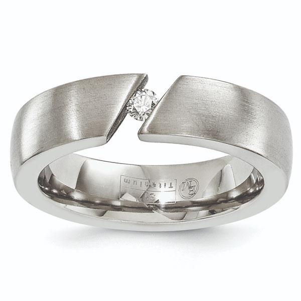 Tension-Set Brushed Titanium Diamond Wedding Band Ring for Men