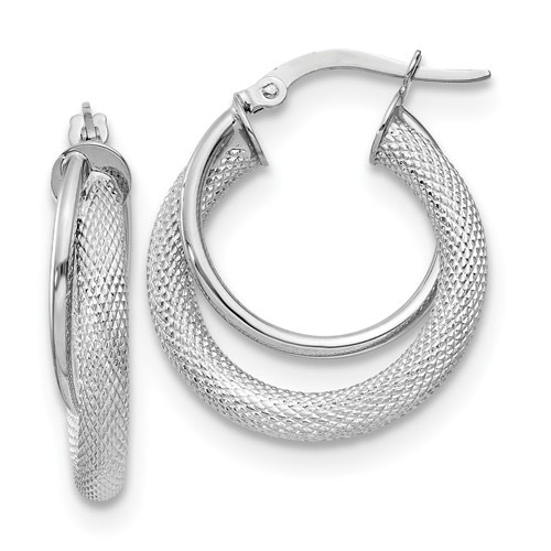 Textured and Polished Hoop Earrings in 14K White Gold