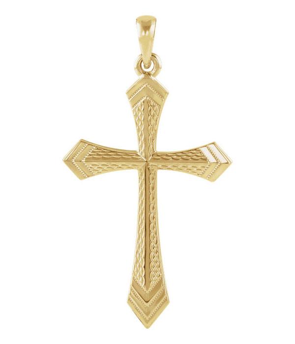 Women's Textured Twoedged Sword Cross Pendant in 14K Gold