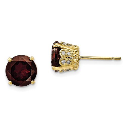 Tiara Crown Garnet Diamond Stud Earrings