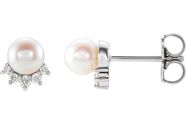 Tiara Setting Freshwater Cultured Pearl and Diamond Earrings