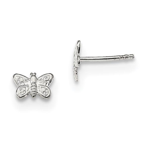 Tiny Butterfly Stud Earrings, Sterling Silver