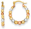 Tri-Color 14K Gold with Rose and White Rhodium Beaded Hoop Earrings