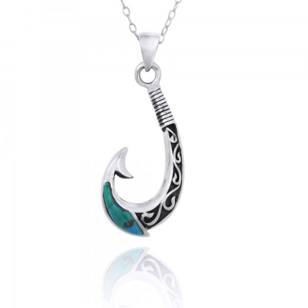 Turquoise Fishing Hook Necklace in Oxidized Sterling Silver