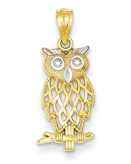 Two-Tone 14K Gold Owl Pendant