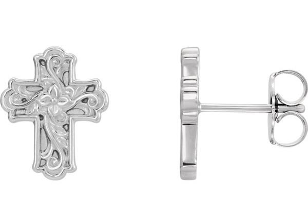Vintage Inspired Floral Cross Stud Earrings in Sterling Silver