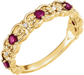 Vintage-Inspired Ruby Scroll Ring, 14K Gold