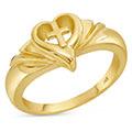 Women's 14K Gold Cross Heart Swirl Ring