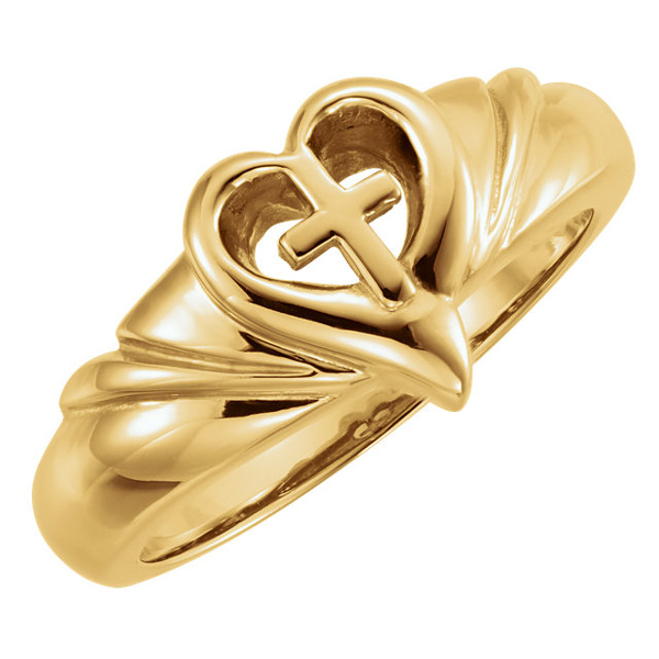 women's 14k gold cross heart swirl ring