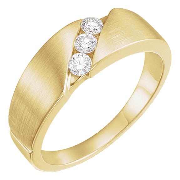 Women's 3-Stone 1/5 Carat Diamond Wedding Band Ring, 14K Gold