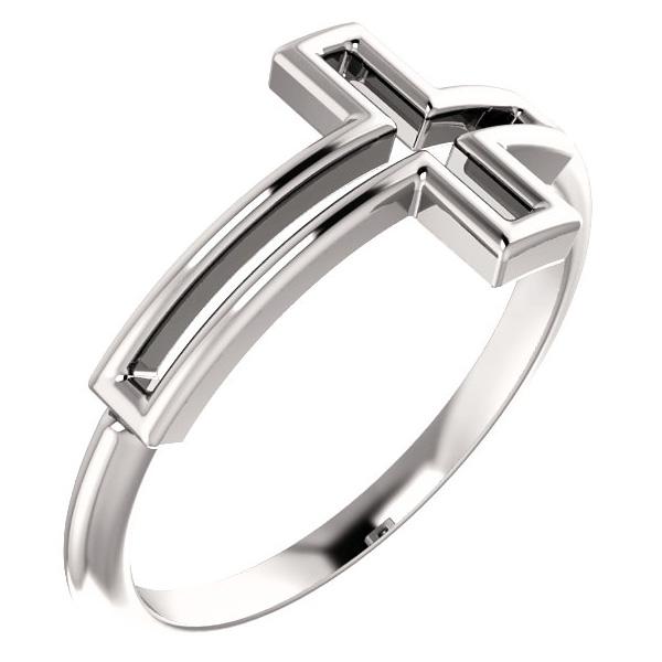 Women's Cut-Out Cross Ring, 14K White Gold