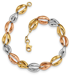Women's Designer Tri-Color Gold Bracelet