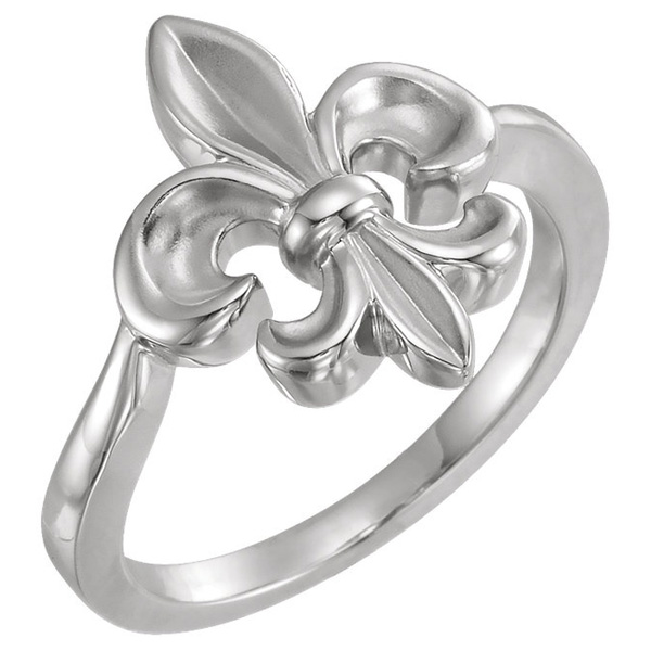 Women's Fleur-de-Lis Ring in 14K White Gold