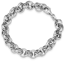 Women's Polished Fancy Link Bracelet in Sterling Silver