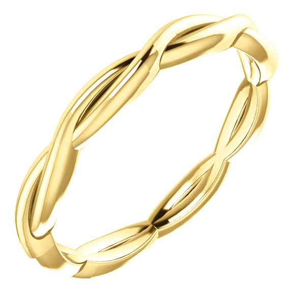 Woven Infinity Wedding Band Ring in 14K Gold
