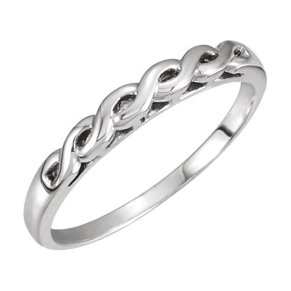 Woven Infinity Wedding Band Ring, 14K White Gold