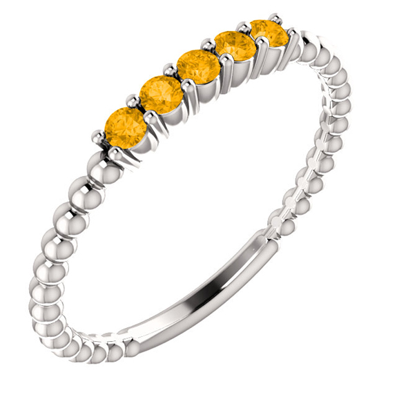 Yellow Citrine Silver Stackable Bead Ring