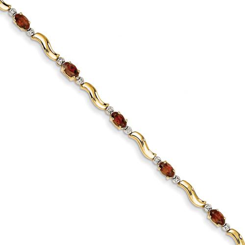 """Garnet """"S"""" Shape Bracelet, 14K Gold"""