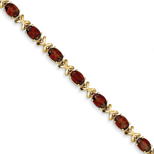 Garnet XOXO Bracelet in 14K Yellow Gold