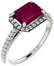 8x6mm Emerald-Cut Garnet and Diamond Ring
