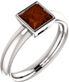 Princess-Cut Bezel-Set Garnet Ring in Sterling Silver