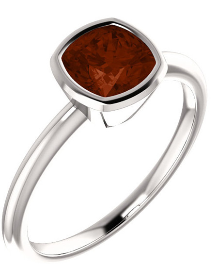 Cushion-Cut Garnet Solitaire Ring in Sterling Silver